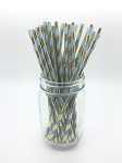 Paper Straws Light Blue & Gold Foil Stripe Straws