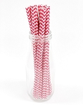 Hot Pink Chevron Paper Straws