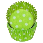 MINI Lime Green Polka Dot Standard Cupcake Liners 100 Count
