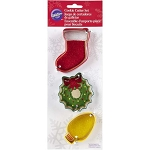 Wilton Cookie Cutter Set of 3: Light, Wreath, Stocking