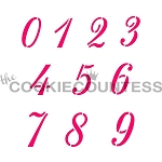 Script Numbers 1-9 Cookie Stencil