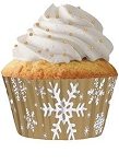 Gold Snowflake Standard Cupcake 30 Count Liners