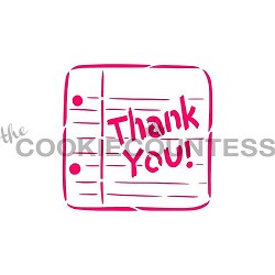 Thank You Note Cookie Stencil