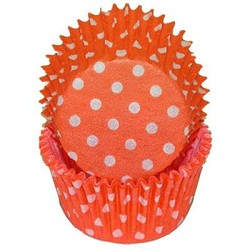 Orange Polka Dot MINI Cupcake Liners 100 Count
